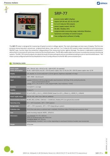 2-displays process meter SRP-77 datasheet