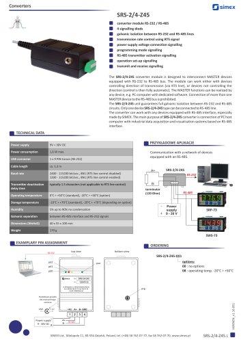 RS232/RS485 converter SRS-2/4-Z45 datasheet