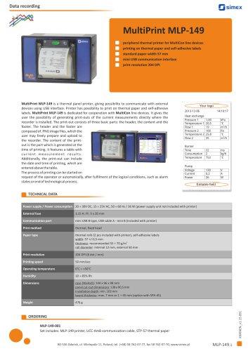 Thermal printer MultiPrint MLP-149 datasheet