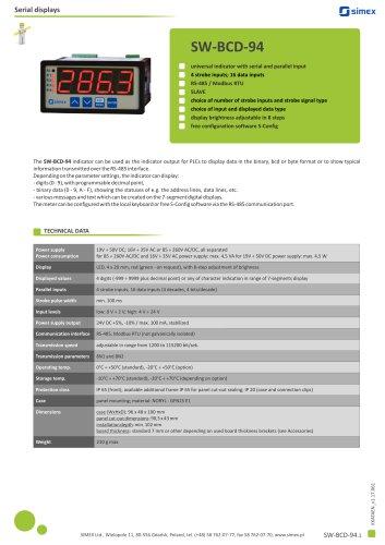 Universal indicator SW-BCD-94 datasheet