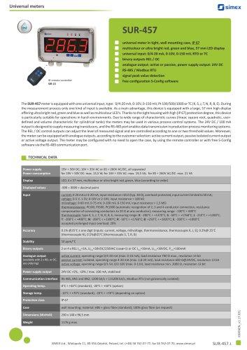 Universal IP67 meter SUR-457 datasheet