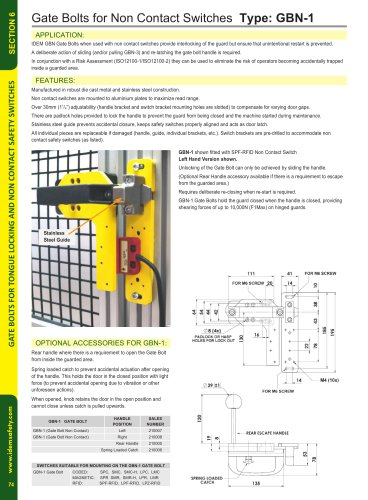 GBN-1 Gate Bolt for Non-Contact Switches