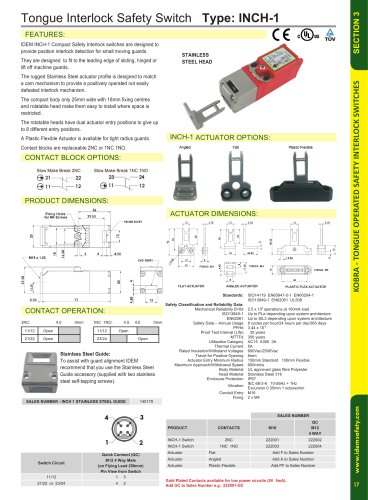 INCH-1 Miniature Tongue Interlock Safety Switch