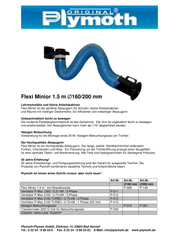 Flexi Minior 1.5 m D.160/200 mm