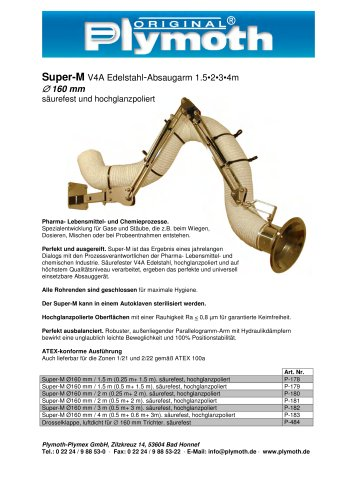 Super-M V4A Edelstahl-Absaugarm 1.5?2?3?4m D 160 mm