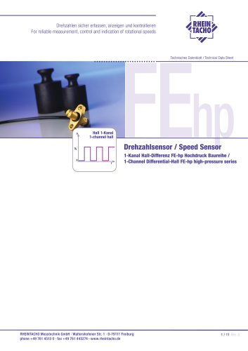 Sensor: 1-Kanal Hall-Differenz FEhp Hochdruck Baureihe