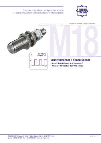 Sensor: 1-Kanal Hall-Differenz M18 Baureihe