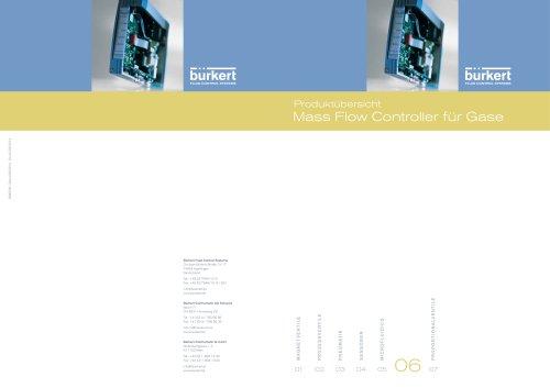 Produktübersicht Mass Flow Controller für Gase