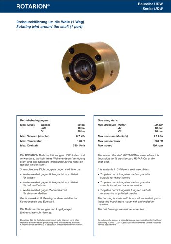Rotating Joints Rotarion - Series UDW