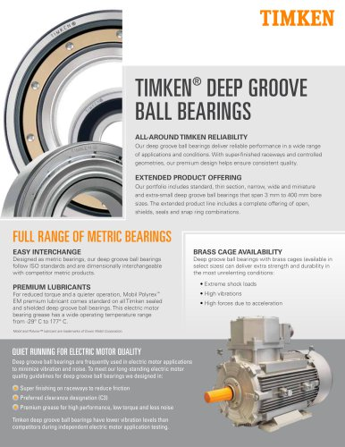 TIMKEN®  DEEP GROOVE BALL BEARINGS