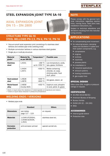 Steel expansion joint Type SA 10