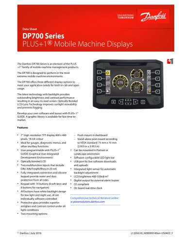 DP700 Series Displays Data Sheet