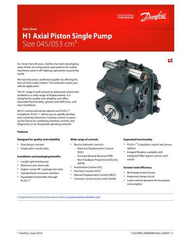H1 045 053 Single Axial Piston Pumps Datasheet