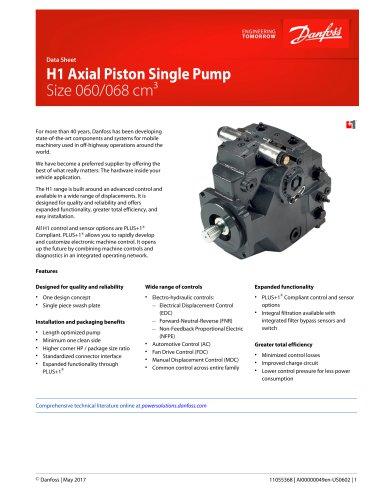 H1 060 068 Single Axial Piston Pumps Datasheet