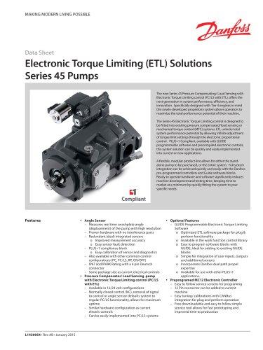 Series 45 Axial Piston Open Circuit Pump ETL Control