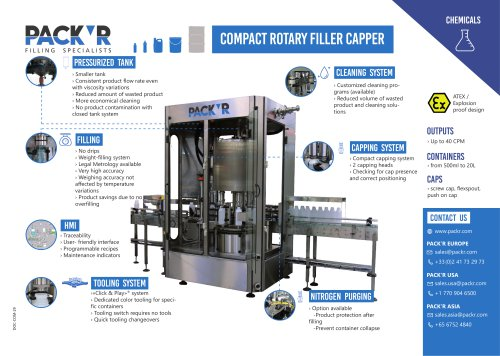CHEMICALS COMPACT ROTARY FILLER CAPPER