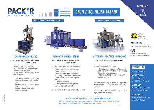 CHEMICALS DRUM / IBC FILLER CAPPER