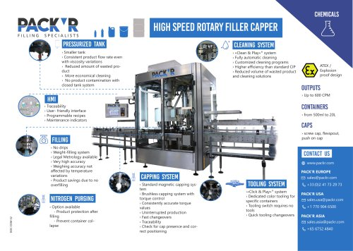 CHEMICALS HIGH SPEED ROTARY FILLER CAPPER