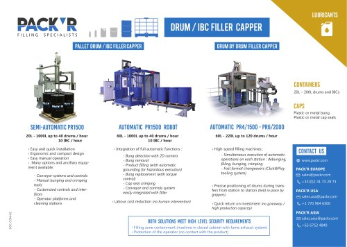 LUBRICANTS DRUM / IBC FILLER CAPPER