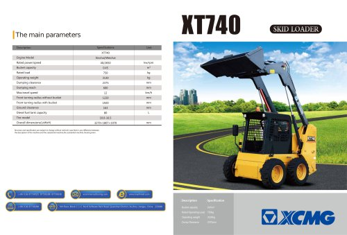 XCMG  skid steel loader XT740 construction