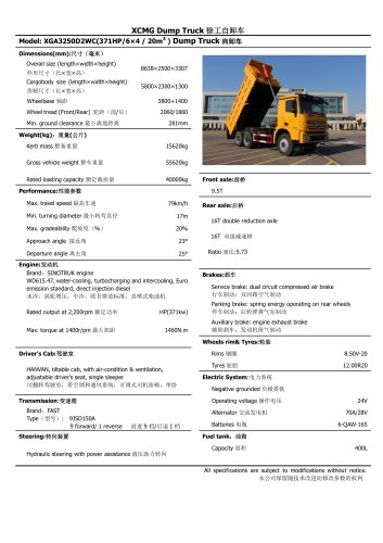 XGA3250D2WC XCMG 40 ton dump truck 6x4