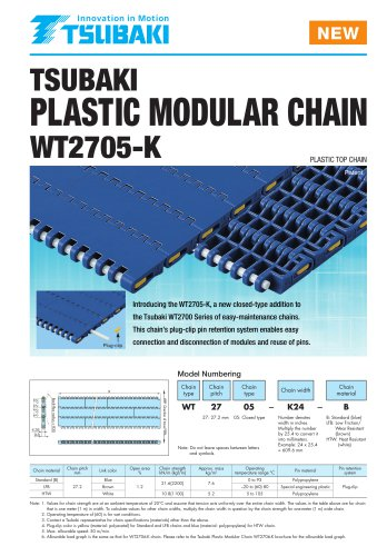 Tsubaki Plastic Modular Chain WT2705-K Type