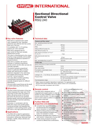 RSQ 240 Sectional Directional Control Valve