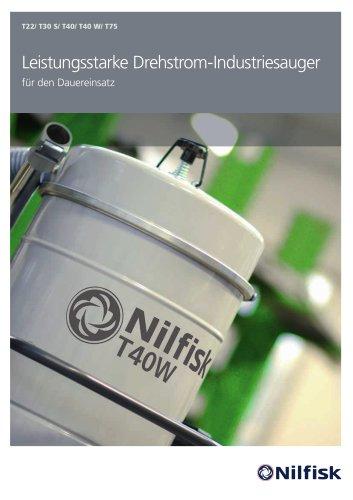 T22-T40-T40W-T75 - Leistungsstarke Drehstrom- Industriesauger