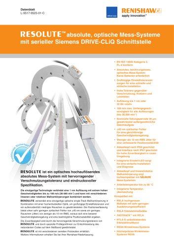 RESOLUTE? absolute, optische Mess-Systeme mit serieller Siemens DRIVE-CLiQ Schnittstelle