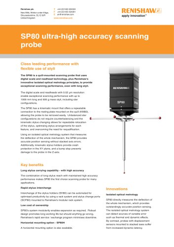 SP80 ultra-high accuracy scanning probe