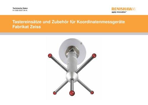 Tastereinsätze und Zubehör für Koordinatenmessgeräte Fabrikat Zeiss