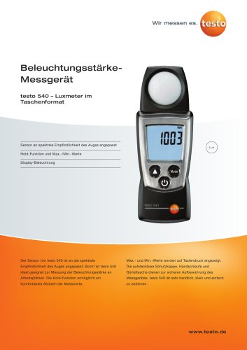 Beleuchtungsstärke-Messgerät - testo 540