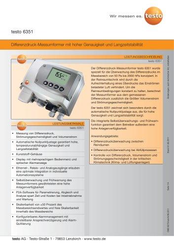 Differenzdruck-Messumformer mit hoher Genauigkeit und Langzeitstabilität - testo 6351