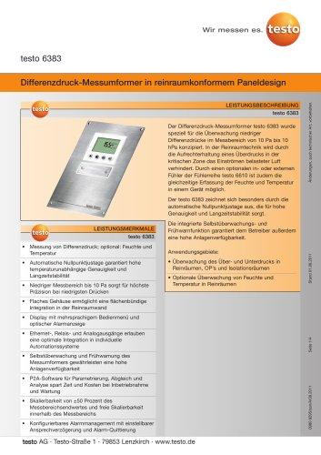Differenzdruck-Messumformer in reinraumkonformem Paneldesign - testo 6383
