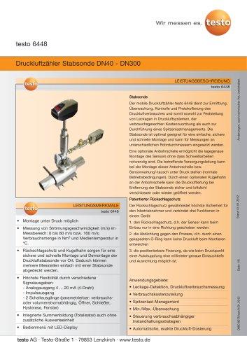 Druckluftzähler Stabsonde DN40 - DN300