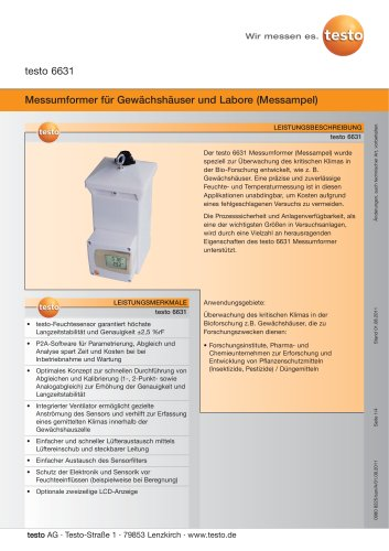 Messumformer für Gewächshäuser und Labore (Messampel) - testo 6631