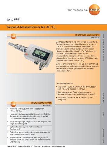 Taupunkt-Messumformer bis -90 °Ctd - testo 6781