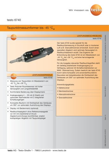 Taupunktmessumformer bis -45 °Ctd - testo 6740