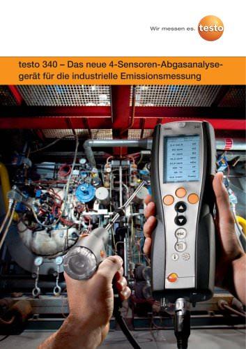 testo 340 – Das neue 4-Sensoren-Abgasanalysegerät für die industrielle Emissionsmessung