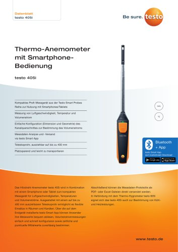 Thermo-Anemometer  mit Smartphone-Bedienung testo 405i