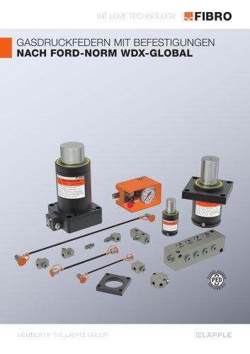 Gasdruckfedern mit Befestigungen nach Ford-Norm WDX-Global