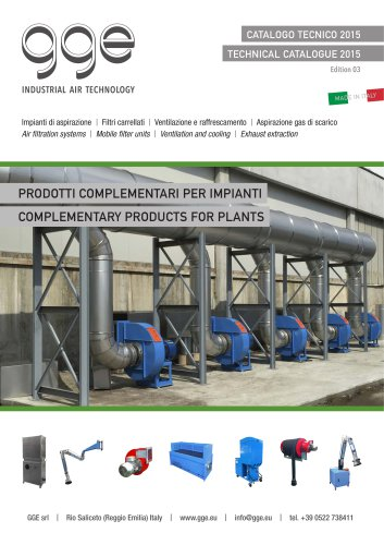 Products for air filtration plants