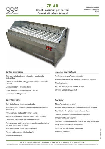 ZB AD – Downdraft tables for dust