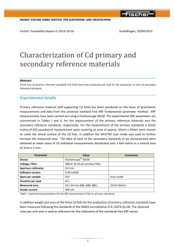 Calibration-TR-Characterization of Cd primary and secondary reference materials