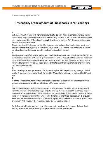 TR-Traceability of the amount of Phosphorus in NiP-coatings