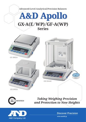 A&D Apollo GX-A(E/WP) & GF-A(WP) series of advanced-level analytical/precision balances