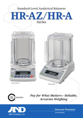HR-AZ / HR-A Series of Standard-Level Analytical Balances