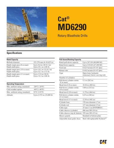 Cat® MD6290 Rotary Blasthole Drills