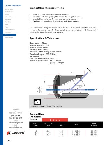 Beamsplitting Thompson Prisms / Beamsplitting Thompson Prism / 066-3770