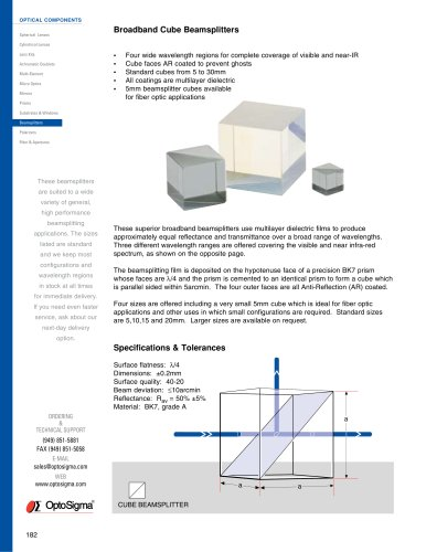 Broadband Cube Beamsplitters / Broadband Cube Beamsplitters / 039-0290